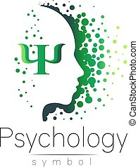 Modern head sign of Psychology. Profile Human. Letter Psi....
