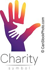 Vector illustration. Symbol of Charity. Sign hand isolated...