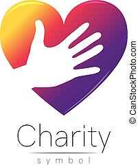 Vector illustration. Symbol of Charity. Sign hand heart...