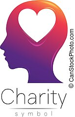 Vector illustration. Symbol of Charity. Sign head heart...
