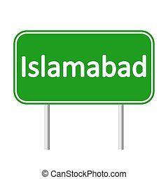 Islamabad road sign. - Islamabad road sign isolated on white...