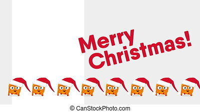 Many small Upsies' cute funny crazy Christmas dance and red...