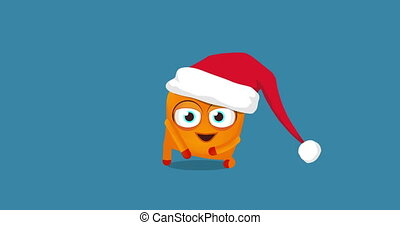 Upsy cute funny crazy Christmas dance. Blue screen, alpha...