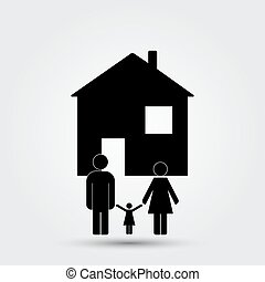 Concept image of a family under an abstract house