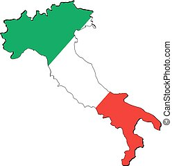 High resolution Italy map with country flag. Flag of the...