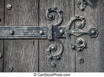 Medieval Door HInge - Ornate and weathered medieval church...