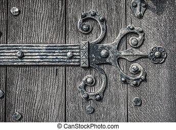 Medieval Door HInge - Ornate and weathered medieval church...