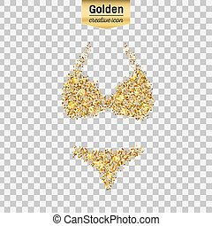 Gold glitter vector icon of swimsuit isolated on background....