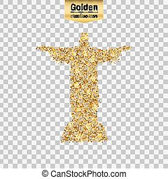 Gold glitter vector icon of statue isolated on background....