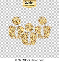 Gold glitter vector icon of business people isolated on background. Art creative concept illustration for web, glow light confetti, bright sequins, sparkle tinsel, abstract bling, shimmer dust, foil.