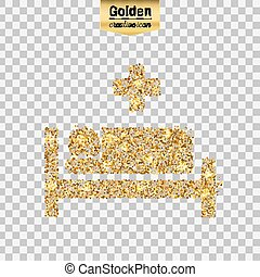 Gold glitter vector icon of hospital isolated on background....