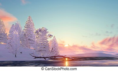 Snowy fir trees and frozen lake at sunset - Winter landscape...