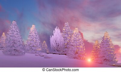 Snow covered firs under scenic sunset sky - Dreamlike winter...