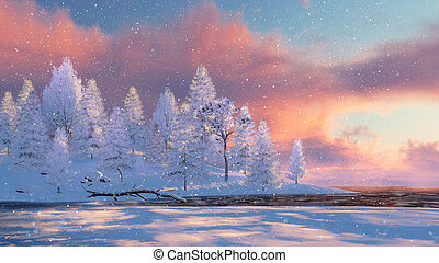 Snowy firs and frozen river at snowfall - Winter landscape...