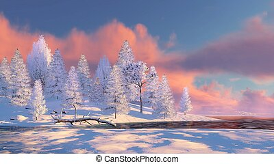 Snowy fir forest and frozen river at sunset - Peaceful...