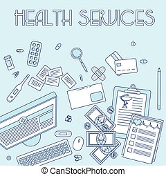 Health services, online doctor support. Medical working...