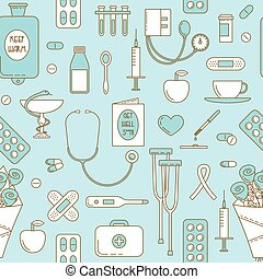 Ill design, medicine line icons. Vector seamless pattern