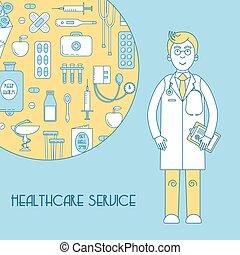 Medical service, health line design with doctor