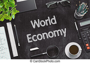 Black Chalkboard with World Economy Concept. 3D Rendering. -...