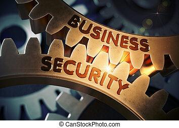 Business Security on Golden Metallic Gears. 3D Illustration....
