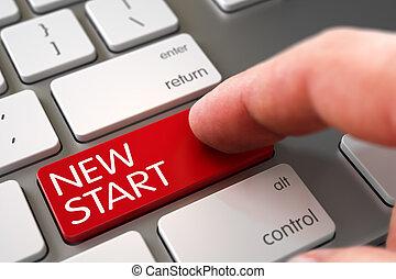 Hand Touching New Start Keypad. 3D. - Finger Pressing on...