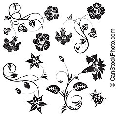 Collect flower border with ladybug, element for design,...