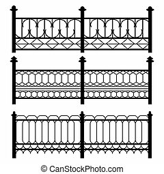 fences isolated black symbols collection