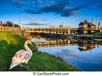 Swing Bridge - Scenic view of Winnington swing bridge,...