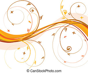 Floral background with wave pattern, element for design,...