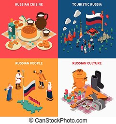Russian Isometric Touristic 2x2 Icons Set - Russian culture...