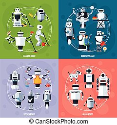 Smart Robots Concept - Smart robots concept with cyborgs...