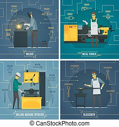 Metalworking Infographic Elements 4 Flat Icons - Blacksmith...