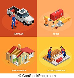 Home Improvement Isometric Template - Home improvement...
