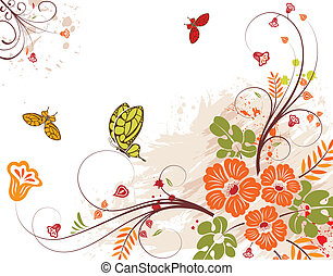 Grunge flower background with butterfly, element for design,...