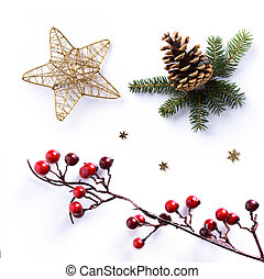 Christmas ornament on white background; holiday design...