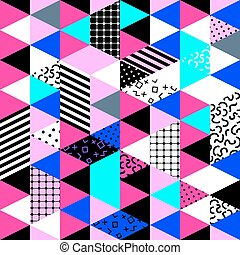 Memphis style background. - Memphis trendy seamless pattern...