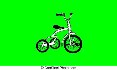 Moving tricycle isolated on a transparent background....