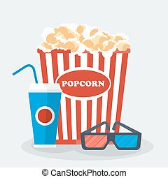 pop corn glasses drink - Cinema concept with popcorn, 3d...