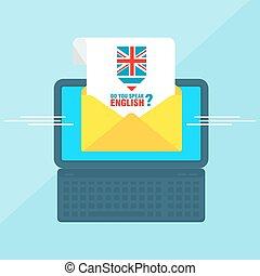 laptop with envelope english