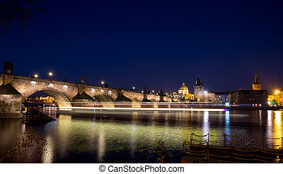 Night photo of Prague Old Town (Smetanovo Nabrezi) - Night...