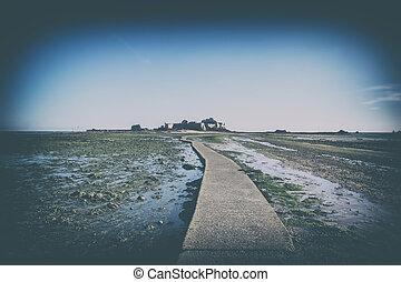 foot path to Elizabeth castle, St.Helier , Jersey Island,...