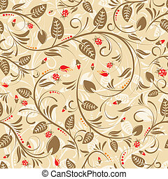 Flower seamless pattern with ladybug, element for design,...