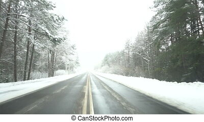Beautiful Winter snowy road - Beautiful snowy moving road,...