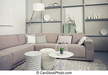 stylish retro living room - Interior of stylish retro living...