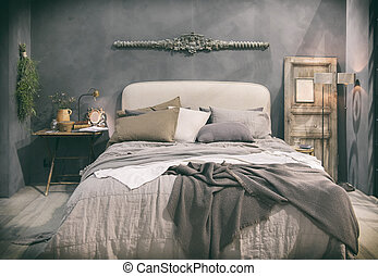 home bedroom in country style - detail of home bedroom in...