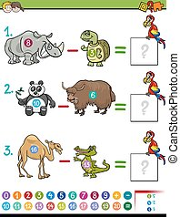subtraction educational game - Cartoon Illustration of...
