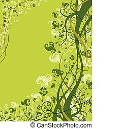Flower background with wave, element for design, vector...