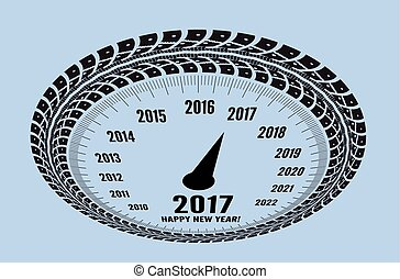 Speedometer 2017 year greeting