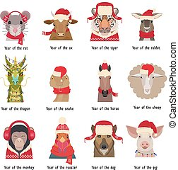 Vector animal Heads in red caps scarfs. Chinese horoscope symbols