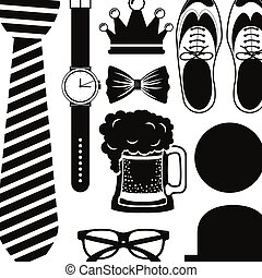Shoes hat glasses necktie watch and beer design - Shoes hat...